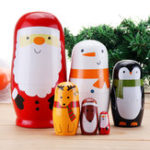 New 6pcs Russian Wooden Nesting Doll Handcraft Decoration Christmas Gifts