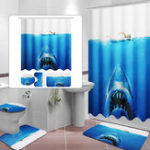 New Deep Sea Shark 3D Printing Bathroom Shower Curtain Toilet Cover Mat Non-Slip Rug Sets
