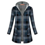 New Women Casual Plaid Hooded Long Sleeve Hooded Coats