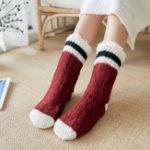 New Women Christmas Knit Plus Velvet Tube Socks
