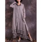 New Women Vintage Cotton Linen Lace Patchwork Button Dress