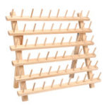 New 60 Spools Sewing Thread Rack Embroidery Storage Wooden Holder Cones Stand Shelf Needlework Tool