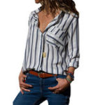 New Stripe Turn-Down Collar Long Sleeve Shirt