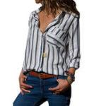 New Stripe Turn-Down Collar Long Sleeve Shirt