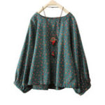 New Women Cotton Floral Print Round Neck Long Sleeve Blouse