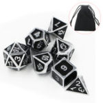 New 7pcs Heavy Metal Polyhedral Dices Multisided Dices Set RPG With Bag