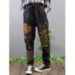 New Embroidery Patchwork Elastic Waist Denim Jeans