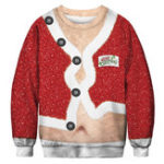 New Men's 3D Print Christmas Fashion Belly  Pullover Sweatshirt