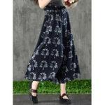 New Women Vintage Floral Print High Waist Wide Leg Pants