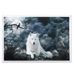 New White Wolf Stone Canvas Wall Paintings Frameless Pictures Art Home Decor