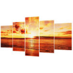 New 5 PCS/Set Large Seaside Sunset Canvas Wall Art Print Painting Picture Unframed Wall Paper