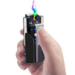 New KCASA Double Arc Electric Lighter USB Charging Power Display Windproof Lighter BBQ Ignition