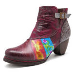 New SOCOFY Handmade Stitching Buckle Boots