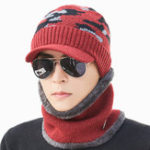 New Mens Outdoor Cycling Windproof Velvet Liner Hat Scarf Set