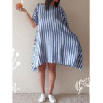 New Women Cotton Loose Striped Round Neck 3/4 Sleeve Dress