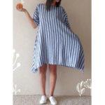 New Women Cotton Loose Striped Round Neck 3/4 Sleeve Dress