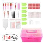 New 114Pcs DIY Diamond Painting Tools 5D Cross Stitch LED Embroidery Pen + Glue+ Sticker + Storage Box