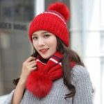 New Women's Winter Dual-Use Striped Knit Hat Cycling Wool Cap