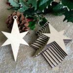 New 10Pcs Wooden Blank Christmas Star Wood Chip Sheet Ornaments Hanging Tags Laser Engraving DIY Crafts