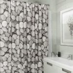 New Polyester Waterproof Cobblestone Shower Curtain Bathroom Home Decor Hooks Set