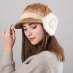 New Women Winter Thickened Gradient Knitted Hat Earmuffs Beret