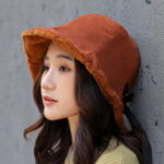 New Ladies Winter Rabbit Fur Cuffs Bucket Cap Casual Warm Hat