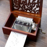 New 30 Tone DIY Hand Cranked Carved Music Box With Hole Puncher Paper Tapes