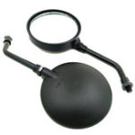 New 10mm Vintage Black Round Rear View Motorcycle Mirrors Bike Scooter