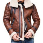 New Mens Faux Leather Jacket Fleece Lining Warm Shearling Coat