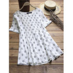 New Vintage Women Polka Dot Print Pleated Short Sleeve Blouse
