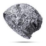 New Unisex Pure Cotton Rose Blossom Print Turban Beanie Cap