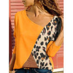 New Plus Size Leopard Print Patchwork Long Sleeve Blouse
