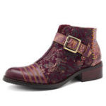 New SOCOFY Handmade Embossed Leather Zipper Boots