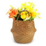 New Folding Flower Pot Plant Straw Storage Baskets Flower Vase Handmade Hanging Basket Home Decor