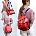 New Women Faux Leather Multi-function Backpack Casual Handbag