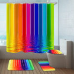 New Water Lines Rainbow Polyester Shower Curtain Bathroom Curtain 3D Printing Water-Proof Bathroom Decor