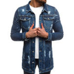 New Mens Casual Multi Pockets Single Breasted Slim Denim Jacket