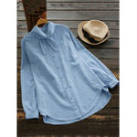 New Plus Size Casual Long Sleeve Stripe Blouse with Front Pocket