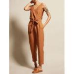 New Women Cotton Sleeveless V-Neck Side Pockets Jumpsuit