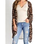 New Women Long Sleeve Leopard Print Loose Cardigans