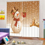 New Merry Christmas Bathroom Set Snowman Pattern Waterproof Shower Curtain Toilet Cover Mat Non Slip Rug