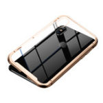 New Baseus Clear Magnetic Adsorption Aluminum Alloy Tempered Glass Protective Case For iPhone XS