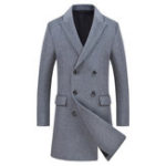 New Mens Business Mid Long Double Breasted Woolen Coats Trench