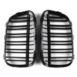 New Pair Gloss Black  Double Line Front Kidney Grille For BMW F48 F49 X1  2016-2017