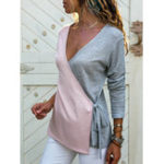 New Women Casual V Neck Patchwork Cross Bandage Tops