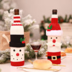 New Christmas Santa Claus Knitting Alcohol Bottle Cover For Bar