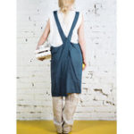 New S-5XL Japanese Solid Color Cross Back Cotton Apron Dress
