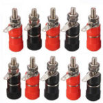 New 10Pcs 4mm Banana Socket Nickel-plated Link Post Nut Banana Plug Jack Connector Red Black