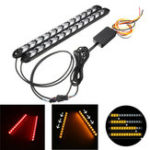 New 12V Day Running Light Flowing Water Flash LED Strip DRL Turn Lights Red Amber