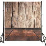 New 5x7FT Brown Wood Wall Floor Photography Backdrop Studio Prop Background